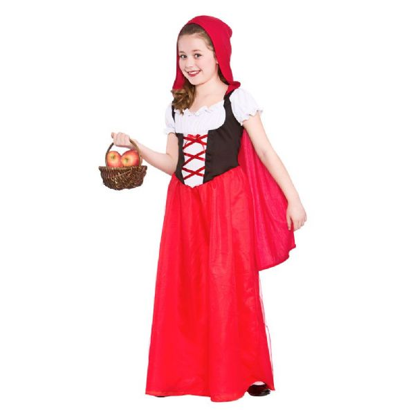 Childrens Girls Red Riding Hood Costume Storybook Fairytale Medieval Fancy Dress